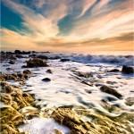Rocks and sea foam