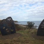 Butterfly wings statues at Horden