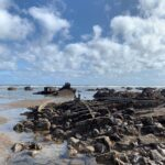 Blackhall beach showing a ship wreck
