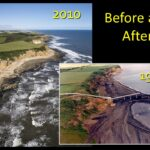 Before and After of Easington Colliery beach banks from 1992 to 2010